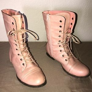 Baby pink combat boots
